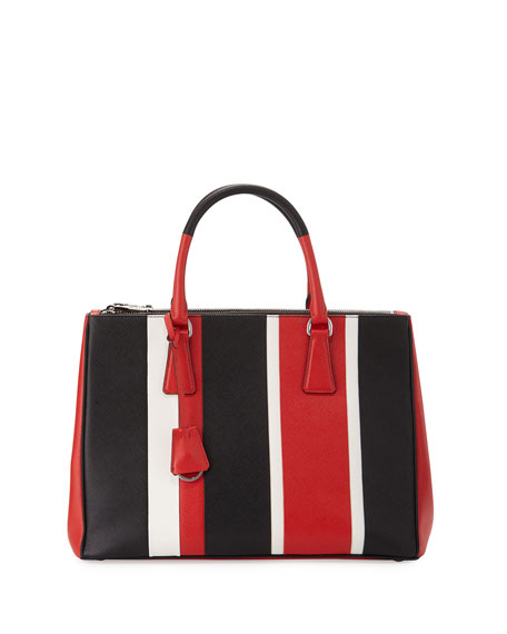 Prada Saffiano Baiadera Striped Galleria Tote Bag, Red/White/Black ...