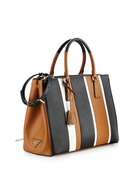 Prada Saffiano Baiadera Striped Galleria Tote Bag, Camel/White/Black