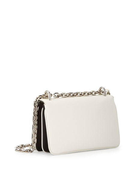 prad handbag - Prada Tessuto & Saffiano Bicolor Shoulder Bag, White/Black (Bianco ...