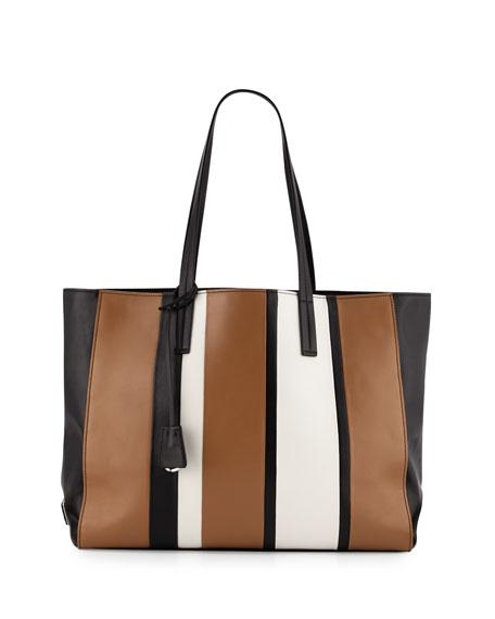 prada galleria bag white + black + caramel