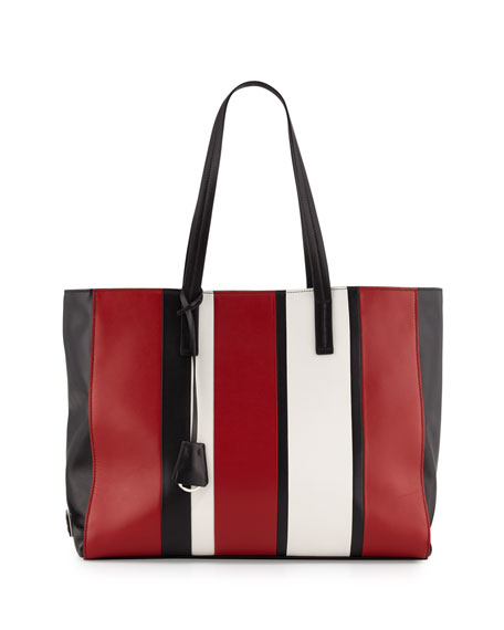 Prada Leather Baiadera Striped Tote Bag, Black/Red/White (Nero  ...