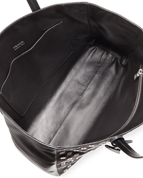 prada tessuto nylon and leather grommet tote