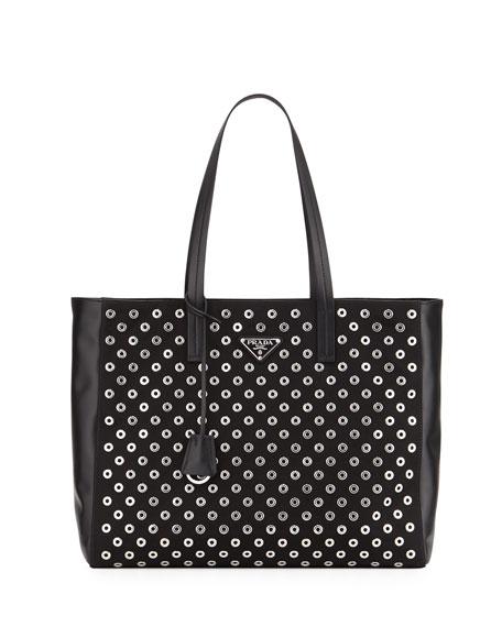 Prada Tessuto Grommets Tote Bag, Black (Nero)