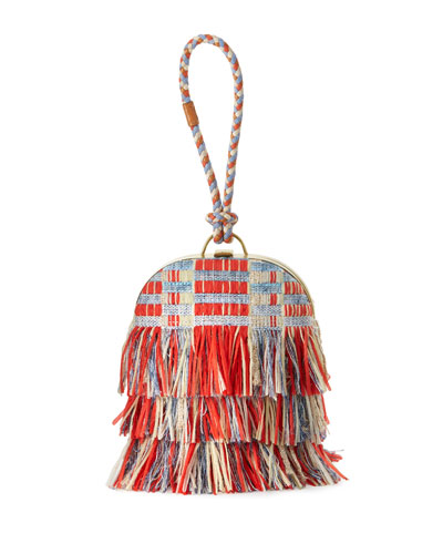 Frayed Tweed Dome Clutch Bag, Poppy Red/Multi