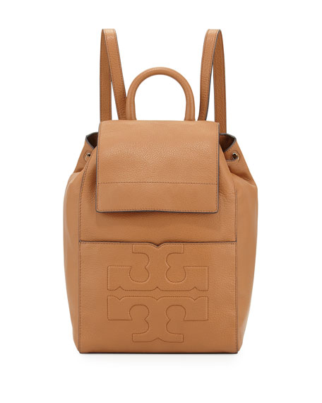 Tory Burch Bombé-T Flap Leather Backpack, Bark