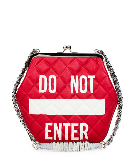 Moschino Do Not Enter Quilted Shoulder Bag, Red