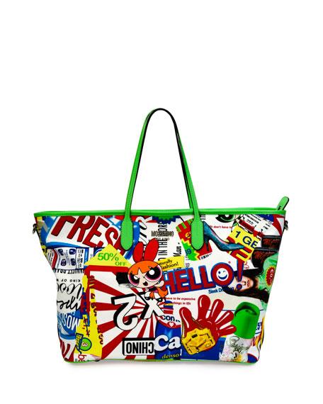 moschino powerpuff girls graphic print tote bag multi colors