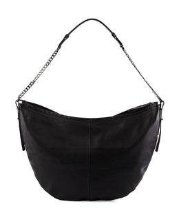 Leather Hobo Bag, Black