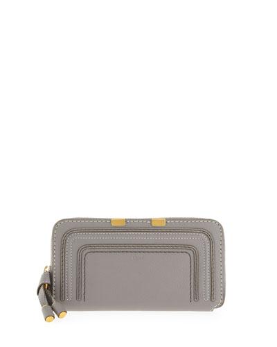Chloe Marcie Calfskin Zip-Around Wallet, Cashmere Gray