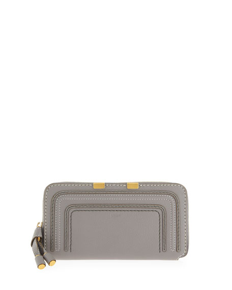 Marcie Calfskin Zip-Around Wallet, Cashmere Gray