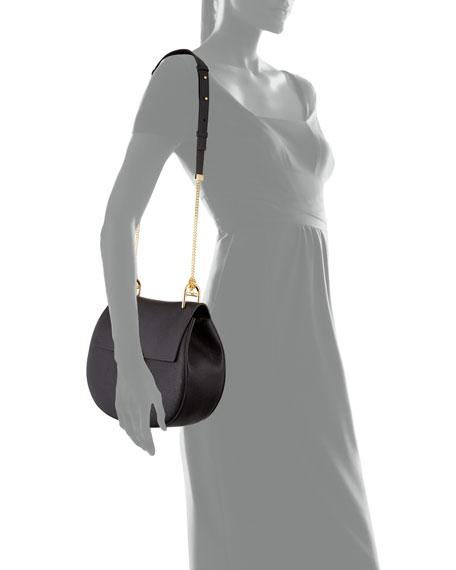 Drew Medium Grain Leather Saddle Bag, Black/Gold
