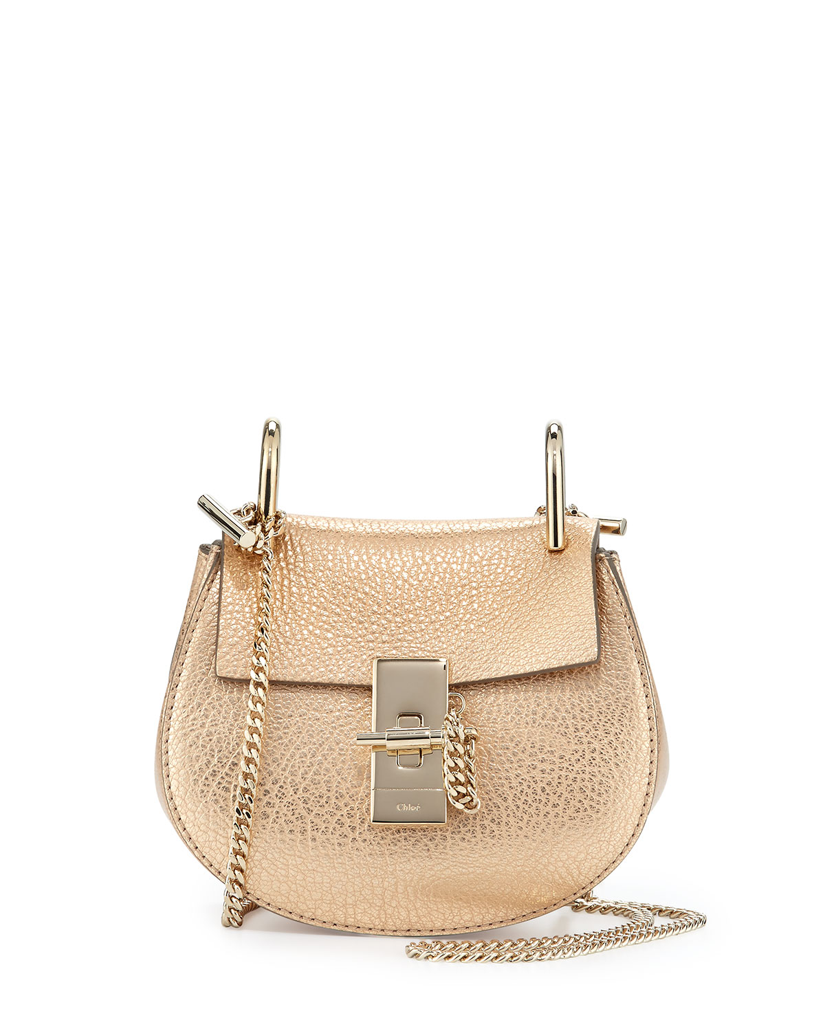 fb161d4e48 Drew Nano Leather Saddle Bag, Gold