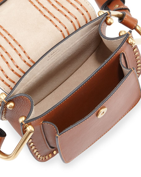 Hudson Stud Leather Mini Saddle Bag, Caramel