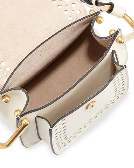 Hudson Perforated Leather Mini Saddle Bag, White