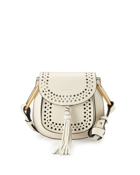 Hudson Perforated Leather Mini Saddle Bag, White