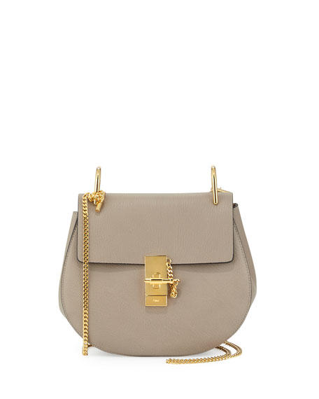 chloe pink leather and suede mini drew saddle bag