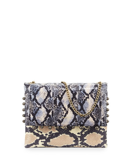 Lanvin Sugar Mini Shoulder Pearls Snakeskin Bag, Black/White