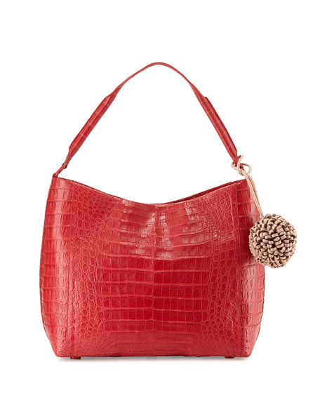 Nancy Gonzalez Crocodile Hobo Bag W/Hanging Charm, Red/Nude