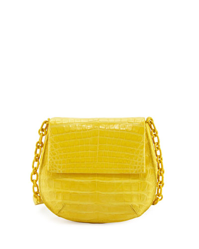 Crocodile Chain-Strap Saddle Bag, Yellow