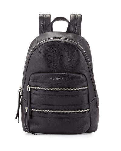 Leather Biker Backpack, Black