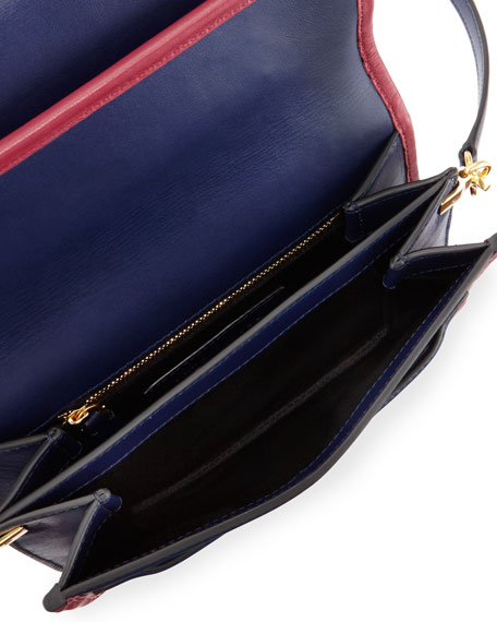 Madison Medium Colorblock Shoulder Bag, Midnight Blue