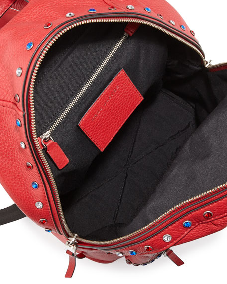 Pretty Young Thing Studded Leather Backpack, Brilliant Red