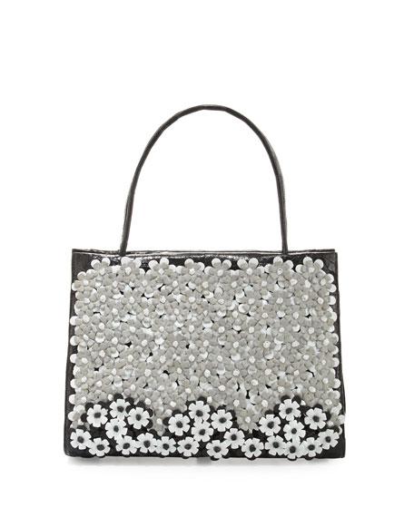 Nancy Gonzalez Wallis Medium Floral Crocodile Tote Bag, Black/Multi