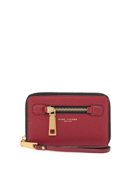 Marc Jacobs Recruit Zip-Around Phone Wristlet Wallet, Ruby Rose