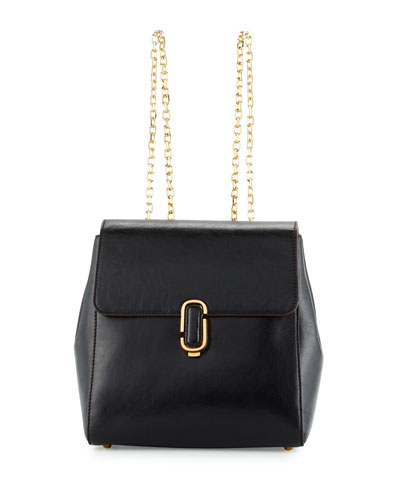 J Marc Leather Chain-Strap Backpack, Black