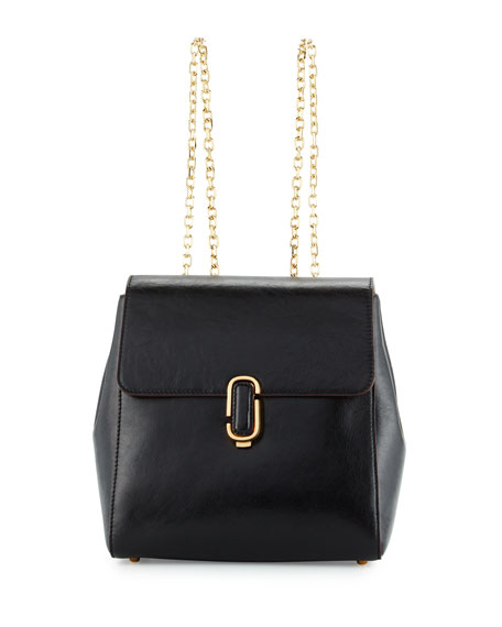 Marc Jacobs J Marc Leather Chain-Strap Backpack, Black