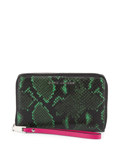 Block Letter Snake-Embossed Zip Phone Wristlet Wallet, Green