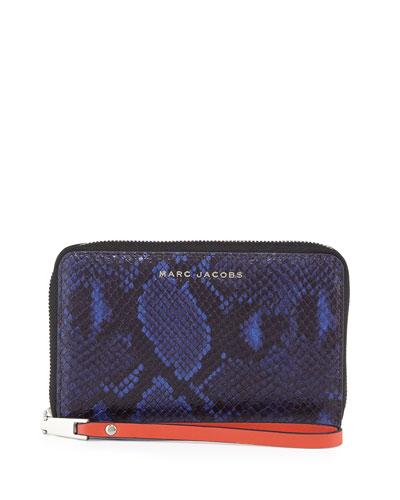 Block Letter Snake-Embossed Zip Phone Wristlet Wallet, Cobalt