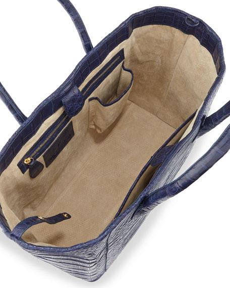 Crocodile Small Convertible Tote Bag, Royal Navy Matte