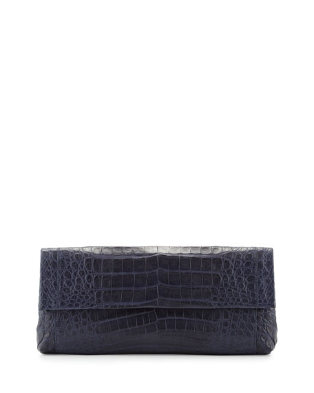 Nancy Gonzalez Gotham Crocodile Flap Clutch Bag, Navy