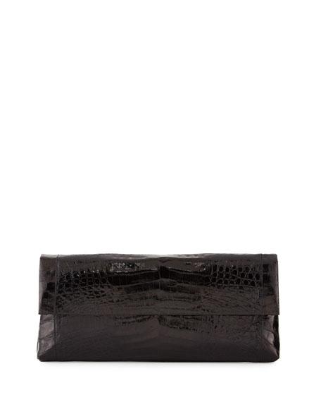 Nancy Gonzalez Gotham Crocodile Flap Clutch Bag, Black