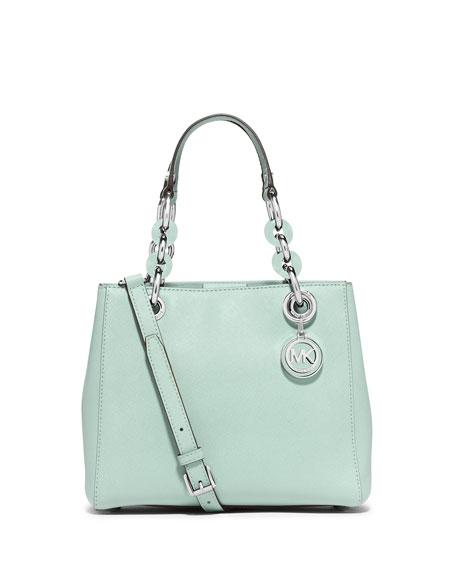 Cynthia Small Saffiano Satchel Bag, Celadon