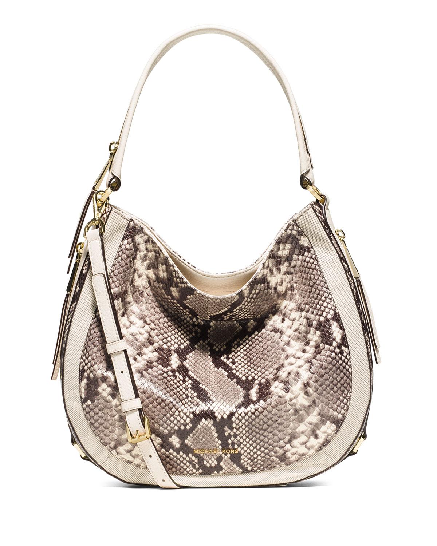 eaea26c0beee90 MICHAEL Michael Kors Julia Medium Leather Convertible Shoulder Bag, Optic  White
