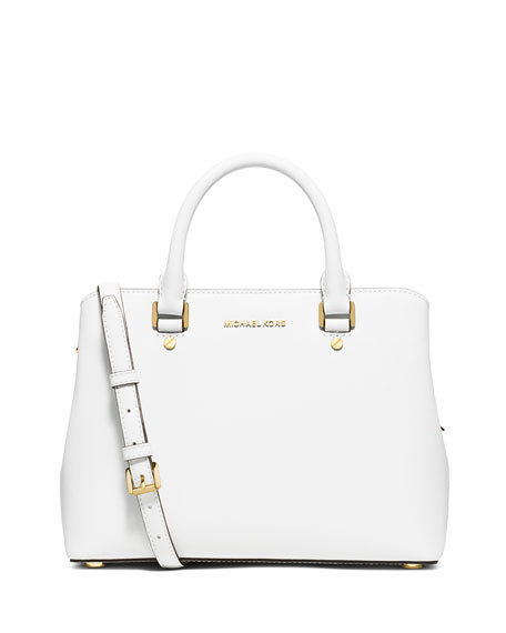 michael michael kors savannah medium saffiano satchel bag optic white. Black Bedroom Furniture Sets. Home Design Ideas