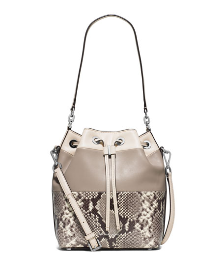 MICHAEL Michael KorsDottie Large Python-Embossed Bucket Bag,