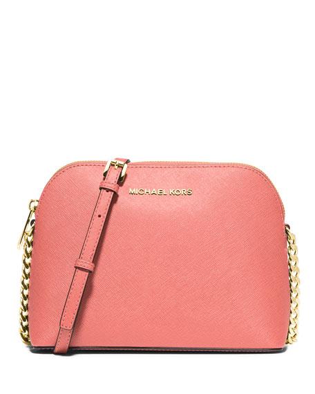 Cindy Large Dome Crossbody Bag, Pink Grapefruit