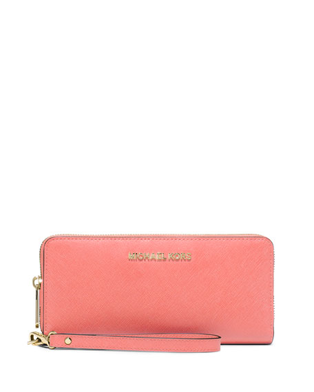 Jet Set Travel Continental Wallet, Pink Grapefruit