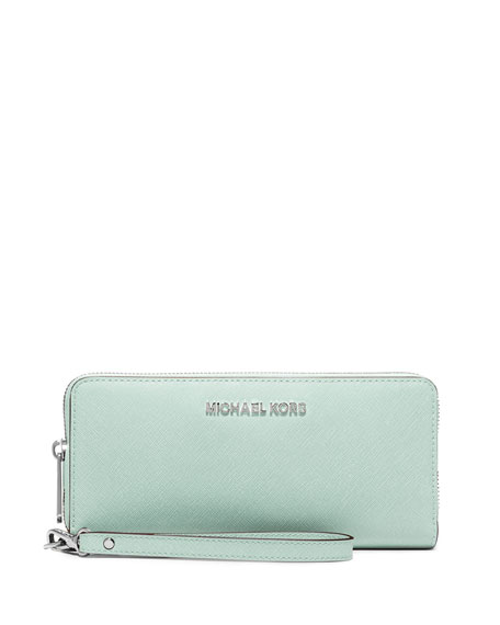 MICHAEL Michael Kors Jet Set Travel Continental Wristlet Wallet, Celadon