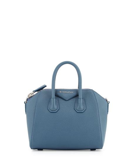Antigona Mini Leather Satchel Bag, Mineral Blue