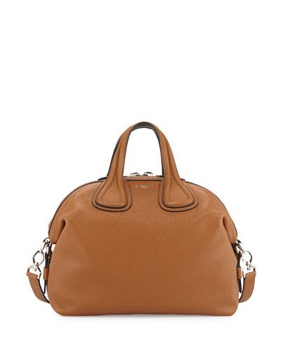 Nightingale Small Leather Satchel Bag, Brown/Black