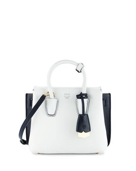 MCM Milla Mini Colorblock Tote Bag, White