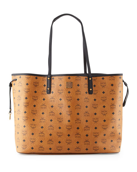 mcm large reversible shopper tote bag cognac neiman marcus. Black Bedroom Furniture Sets. Home Design Ideas