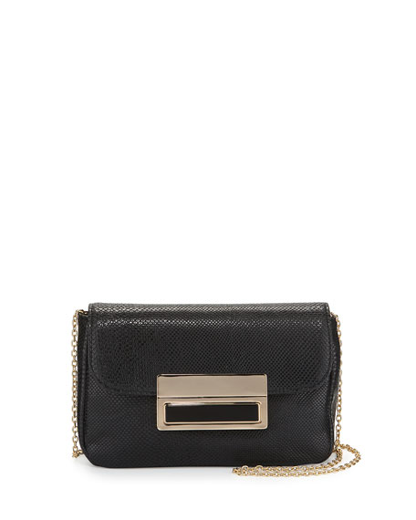 Lauren Merkin Iris Snake-Embossed Evening Clutch Bag, Black