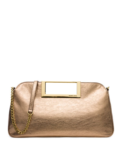 Berkley Large Metallic Clutch Bag, Pale Gold