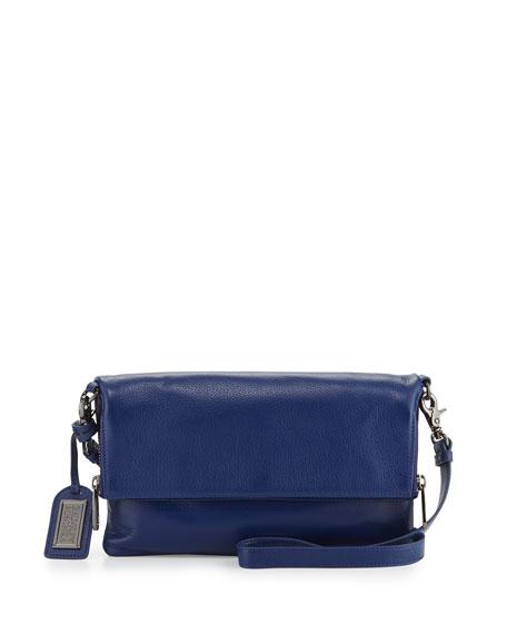 Badgley Mischka Brynn Pebbled-Leather Crossbody Bag, Ink