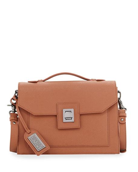Badgley Mischka Jean Saffiano Leather Satchel Bag, Cognac